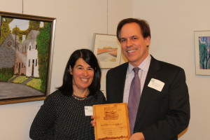 Rogers receives River Friend award from Julia Blatt, Massachusetts Rivers Alliance executive Director and Belmont resident. Photo provided by Dave Rogers.