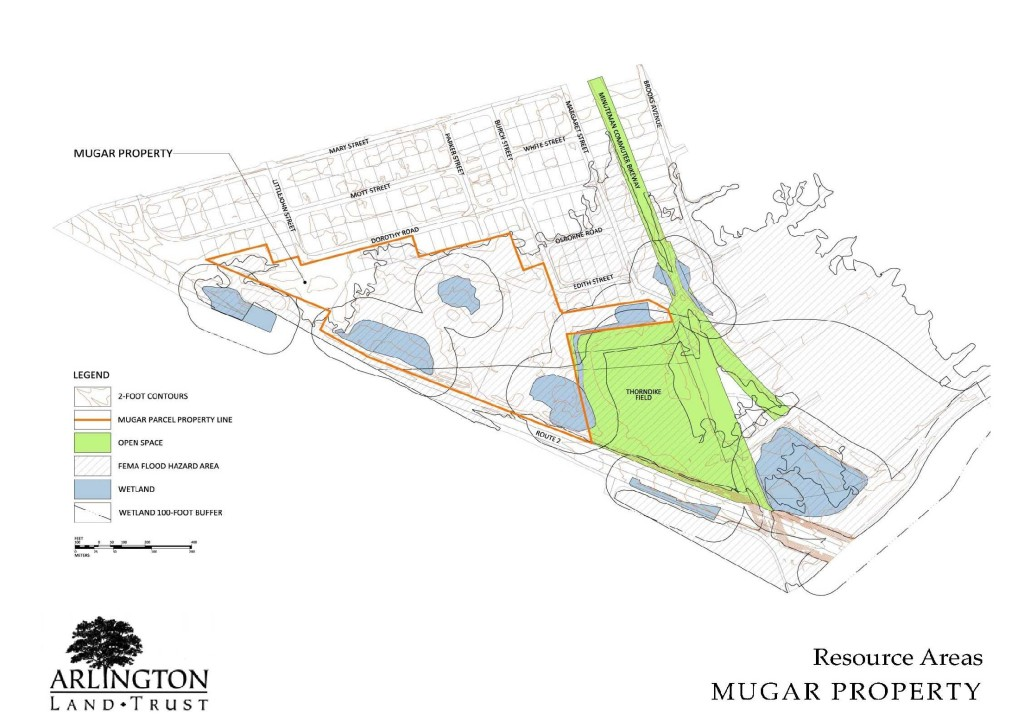 The Resource Plan for the Mugar site, outlined in black, showing the locations of wetlands and the Thorndike recreational field. / Coalition to Save the Mugar Wetlands