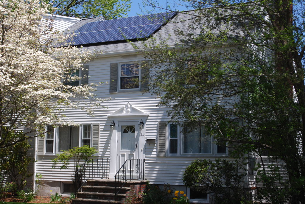 A typical solar installation on a home in Belmont.