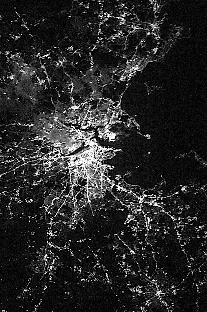 Boston at Night-NASA BW